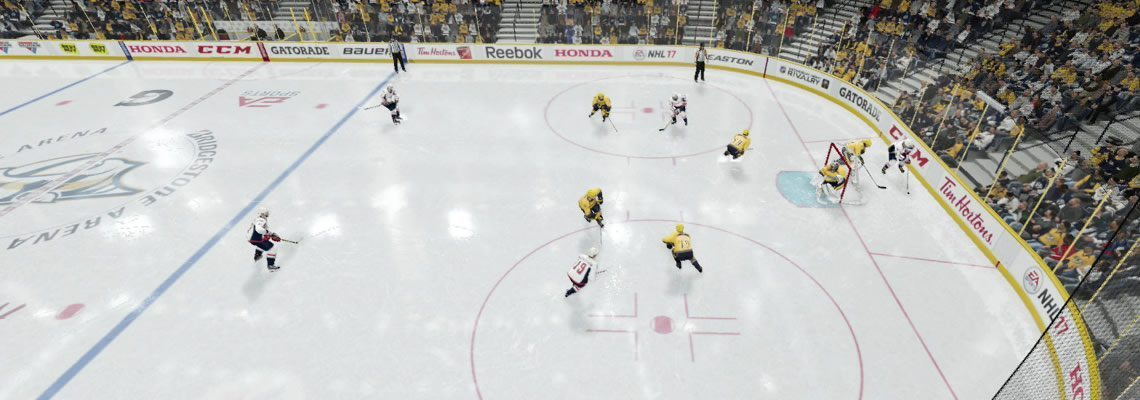 All defenders collapsing to protect the net