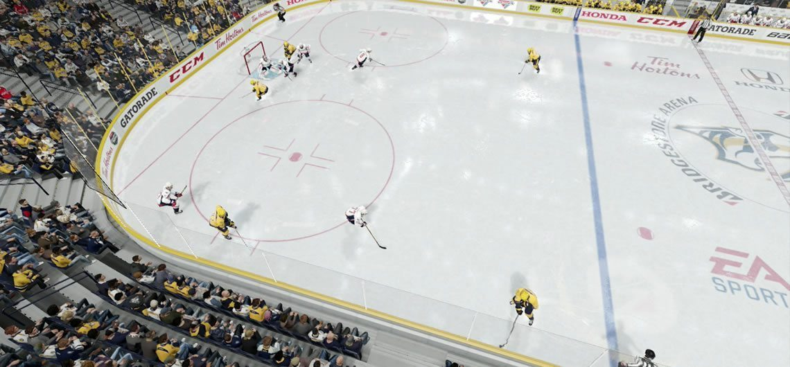 Two forwards crashing the net without the puck while the rest look for shooting lanes.