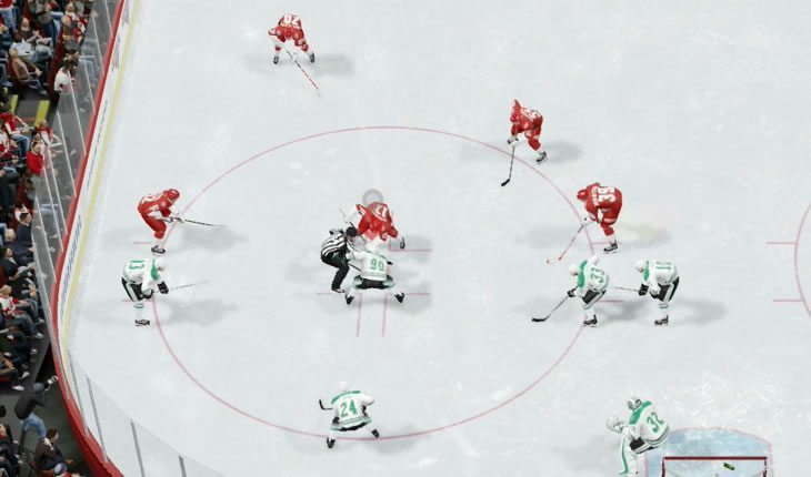 DefensivNHL faceoff in the defensive zone
