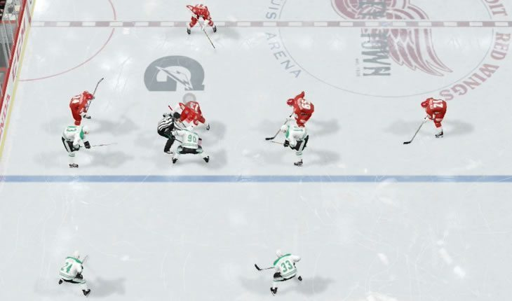 NHL defensive faceoff in the neutral zone