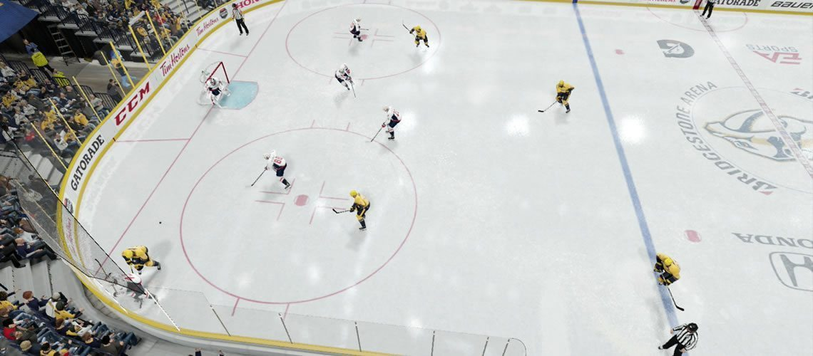 NHL 19 1-2-2 Aggressive Forecheck illustration. Mid forwards play deeper in the zone.