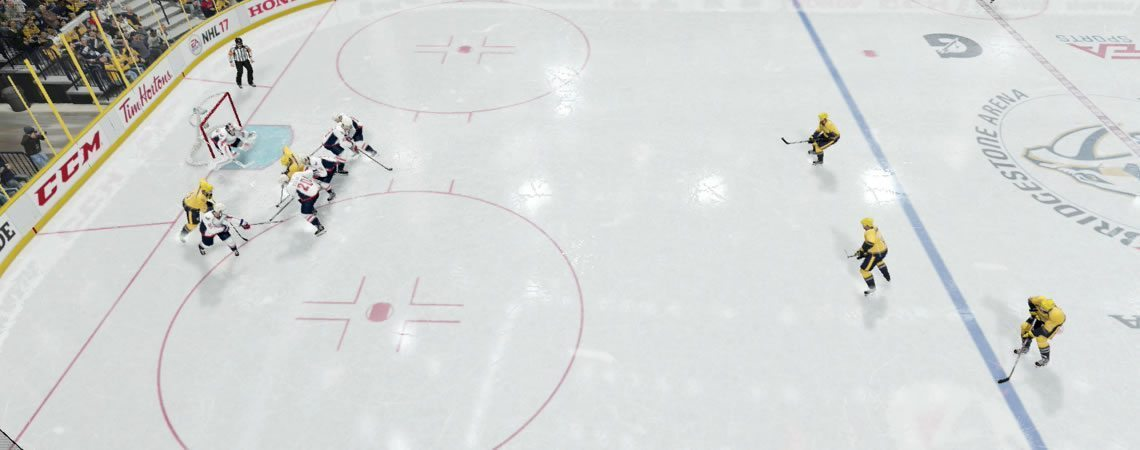 Image showing a 2-3 Forecheck in NHL 19. 2 players in deep and 3 up high