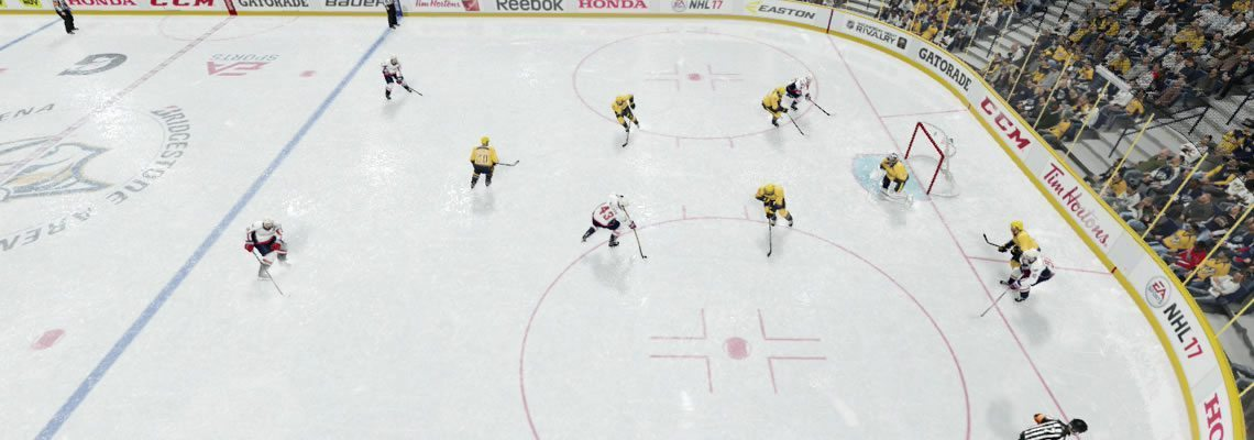 One defender in the high slot while the rest protect the net.