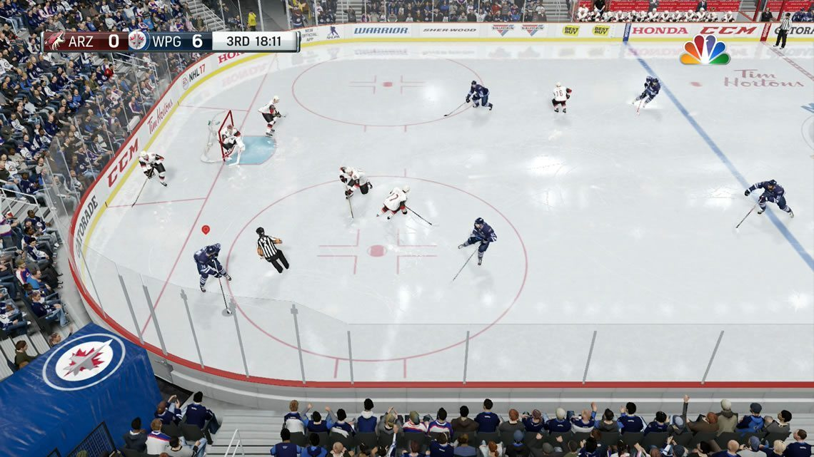 Broadcast camera angle in the offensive zone NHL 17