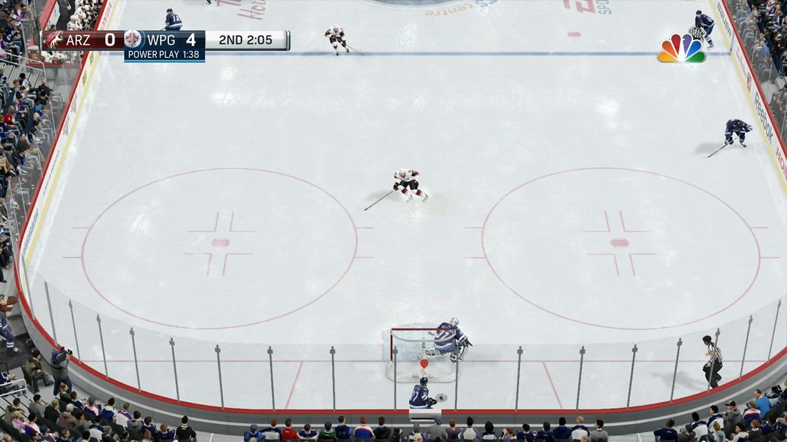 Classic NHL view in the defensive zone
