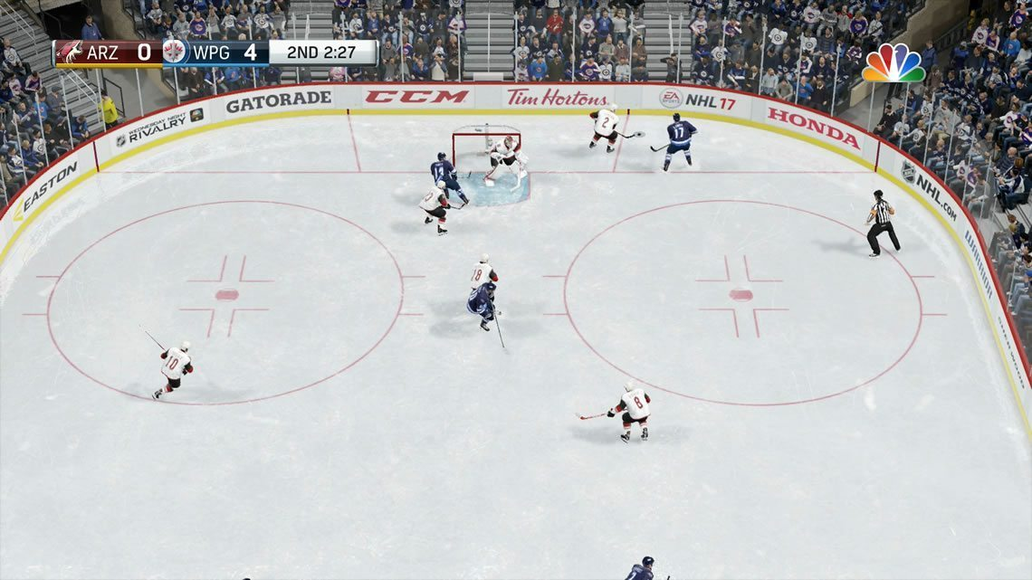 Classic NHL view in the offensive zone