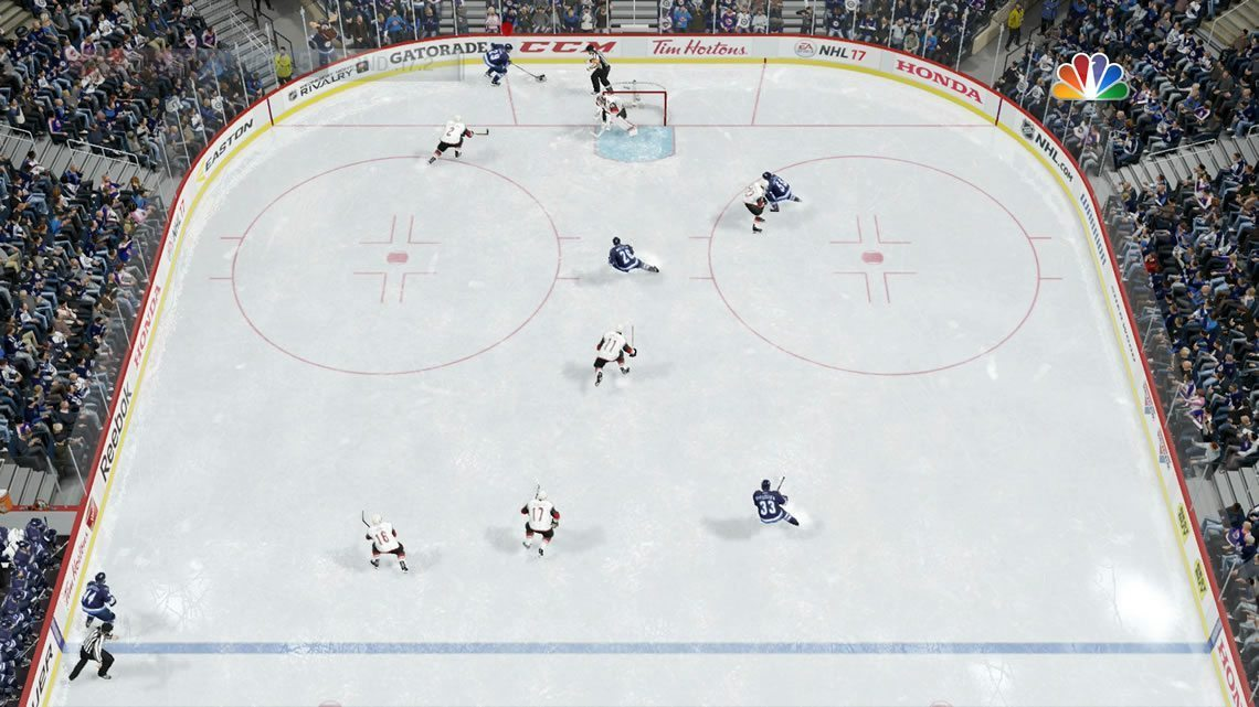 Overhead camera view in NHL 17 from the offensive zone